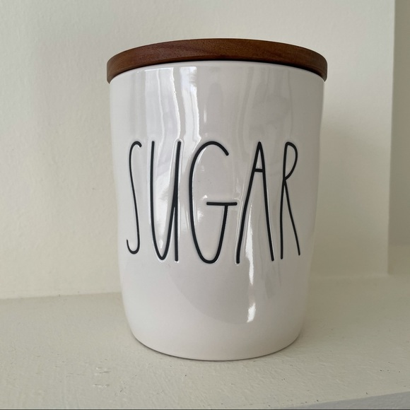 Rae Dunn by Magenta SUGAR Small Canister Wood Lid